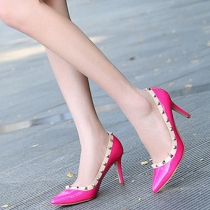 Fashion Pointed Toe Rivets High-heeled Shoes