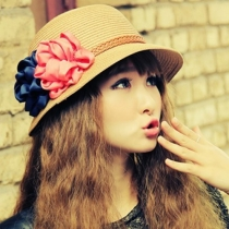 Sweet 3D Flowers Straw Hat Beach Sun Hat