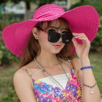 Fashion Bowknot Wide Brim Beach Straw Hat Sun Hat