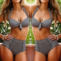 Sexy High Waist with Underwire Striped Bikini Set