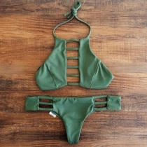 Sexy Hollow Out Low-waist Solid Color Halter Bikini Set