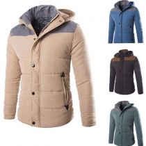 Fashion Contrast Color Hooded Men's Padded Coat