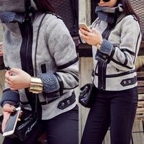 Fashion Long Sleeve Lapel Faux Suede Slim Fit Jacket
