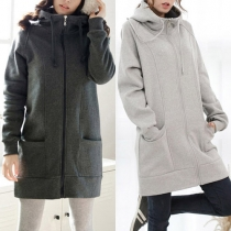 Fashion Solid Color Long Sleeve Hooded Oversized Warm Coat