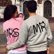 Fashion Long Sleeve Round Neck Letters Printed Couple Sweatshirt