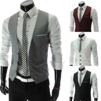 Fashion Solid Color V-neck Single-breasted Men's Suit Vest