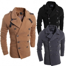 Fashion Solid Color Long Sleeve Double-breasted Men's Woolen Coat