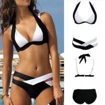 Sexy stylische Bikini Set mit einstellbaren Riemen an Hals und Rücken