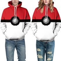 Fashion Contrast Color Long Sleeve Printed Couple Hoodies