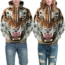 Fashion 3D Tiger Printed Long Sleeve Couple Hoodies