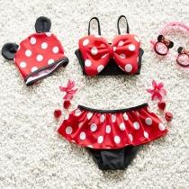Cute Dots Printed Bowknot Bra + Briefs + Swimming Cap Three-piece Set