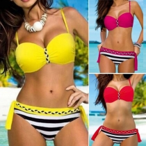 Sexy fashion Push-up Bikini in Kontrastfarbe, mit Streifenmuster