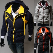 Fashion Contrast Color Hoodie Sweatshirt Coat Mock Two-pieces Set For Men