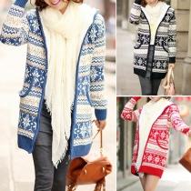 Fashion Geometric Patterns Long Sleeve Woolen Hoodie Knit Cardigan