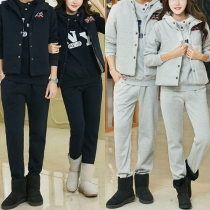 Casual Long Sleeve Hooded Sweatshirt + Single-breasted Vest + Pants Three-piece Set For Couple