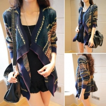 Ethnic Style Printed Long Sleeve Irregular Hemline Knit Sweater Cardigan