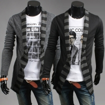 Fashion Casual Stripe Spliced Long Sleeve Knit Men's Cardigan