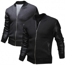 Fashion PU Leather Spliced Long Sleeve Stand Collar Men's Jacket