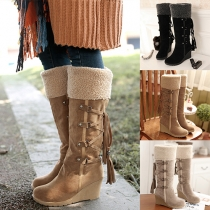 Fashion Stiefel mit Schnürung und kuscheligem Webpelz