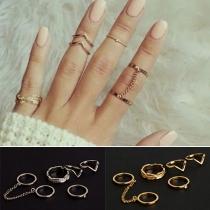 Fashion 6-teilige Legierung Finger-Accessories Ringe Set