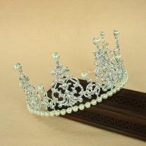 Modern Eingelegtes Strass Perlen Hochzeitskrone
