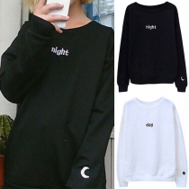 Fashion Long Sleeve Round Neck Letters Printed Casual Sweatshirt