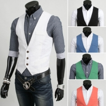 Fashion Solid Color V-neck Slim Fit Men's Vest
