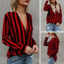 Fashion Long Sleeve V-neck Striped Blouse