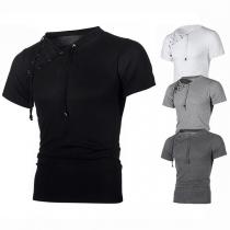 Chic Style Lace-up Oblique V-neck Short Sleeve Men's T-shirt