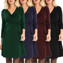 Fashion Solid Color V-neck Lace-up Dress for Pregnant Women