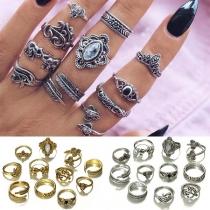 Retro Style 11-teilige Ringe aus Legierung
