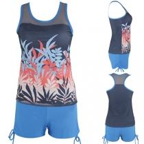 Fashion Sleeveless Printed Top + Shorts Swimsuit Set