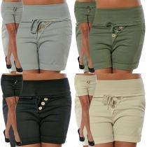Stilvolle High Waist Slim Fit Shorts mit Stretch-Anteil