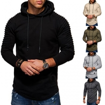 Fashion Solid Color Long Sleeve Folded Slim Fit Hooded Man's Sweatshirt