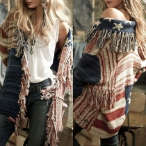 Fashion Long Sleeve Tassel Striped Knit Cardigan