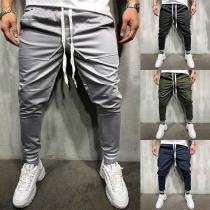 Hip-hop Style Solid Color Drawstring Waist Men's Casual Pants