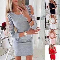 Sexy Kleid mit Freien Schultern Langen Ärmeln Rundhalsausschnitt Schlanker Passform und Perlen