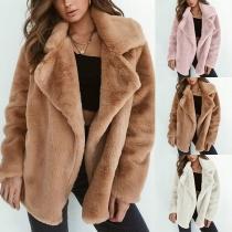 Fashion Damen Mantel aus Webpelz(Keine Knöpfe)