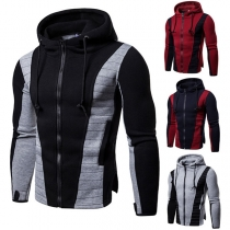 Fashion Contrast Color Long Sleeve Zipper Man's Hooded Sweatshirt