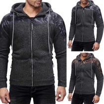 Fashion Contrast Color Long Sleeve Zipper Slim Fit Printed Men's Hooded Sweatshirt