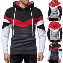 Fashion Contrast Color Fabric Spliced Long Sleeve Slim Fit Men's Sweatshirt