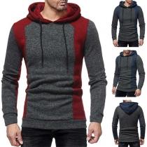 Fashion Contrast Color Long Sleeve Slim Fit Men's Hooded Sweatshirt
