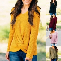 Fashion Solid Color Long Sleeve V-neck Twisted Sweater
