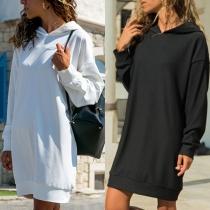 Stylische Sweatkleid mit Kapuze in Unifarbe