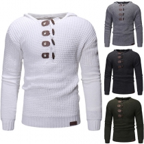 Retro Style Long Sleeve Horn Buttons Hooded Men's Sweater