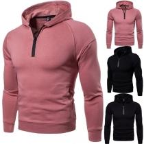 Fashion Solid Color Long Sleeve Zipper Slim Fit Men's Hooded Sweatshirt