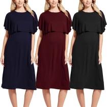 Fashion Solid Color High Waist Breastfeeding Maternity Dress