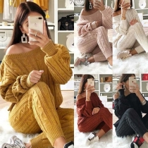 Sexy Off-shoulder Long Sleeve Sweater + Knit Pants Two-piece Set  (It fits small.)