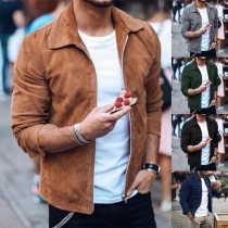 Fashion Solid Color Long Sleeve POLO Collar Men's Jacket