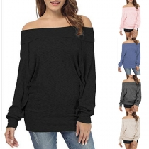 Sexy Off-shoulder Boat Neck Long Sleeve Solid Color Sweatshirt